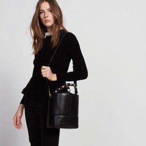 NWT Sandro Lou Black Leather Bucket Bag